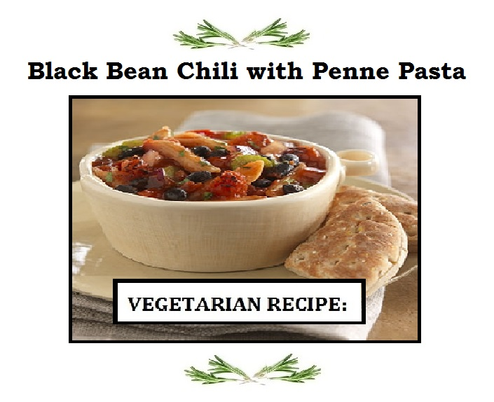 Black Bean Chili with Penne Pasta ( Vegetarian )